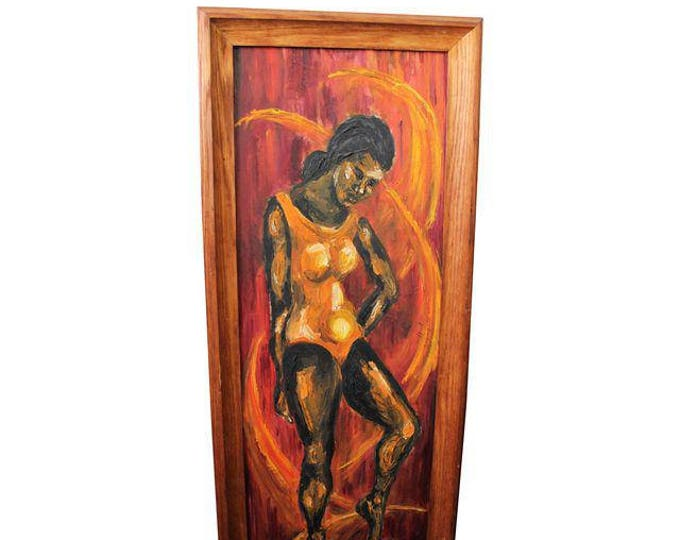 Modern Abstract Art, Mid-century Modern, Womans Figure Oil On Canvas