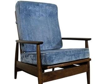 Mid-Century Lounge Chair, Danish Modern , High Back, Rocker, Walnut