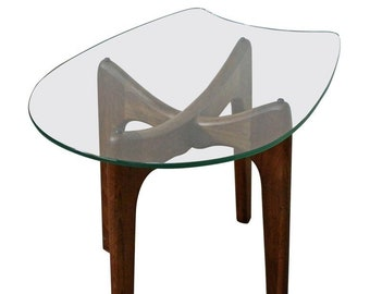 Mid-Century End Table, Danish Modern Side Table by Adrian Pearsall 'Stingray' Glass Top