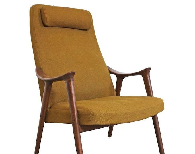 Mid-Century Modern Møre Lenestol Fabrikk Klarinett Teak Lounge Chair Danish