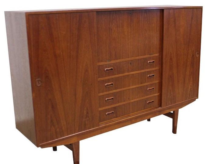 Vintage Mid-Century Modern Omann Jun Danish Modern Teak Secretary Credenza Highboard Dresser Cabinet
