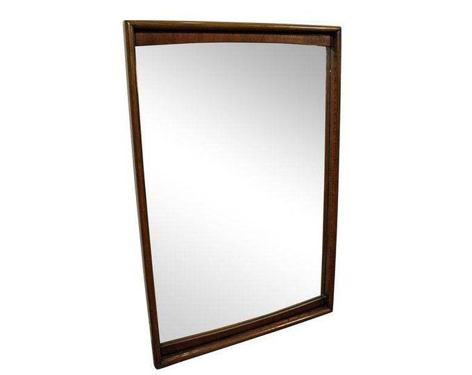 Mid-Century Walnut Mirror Kagan Style  by United Furniture
