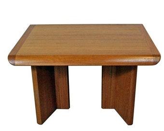 Mid-Century Table, Danish Modern, Teak Sculpted End Table, Mid-Century Modern