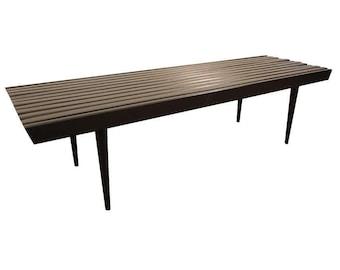 Genial Mid Century Coffee Table Danish Modern Ebonized Walnut Slat Bench Table #7