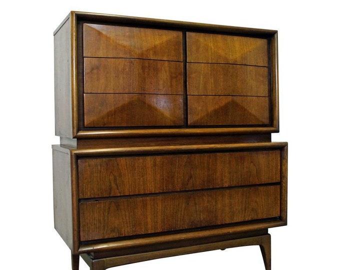 Mid-Century Modern United Diamond Front Large Walnut Tall Chest Dresser