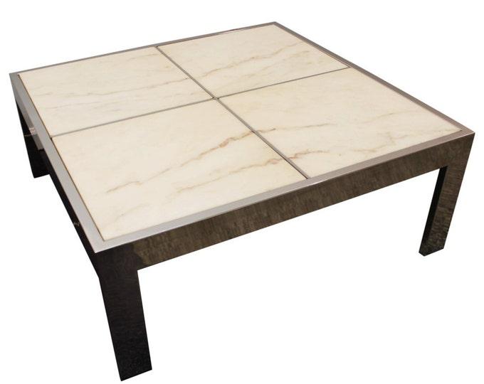 Mid Century Coffee Table Danish Modern Leon Rosen Pace Portugese Marble Chrome