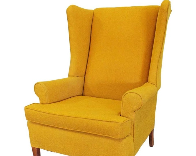Vintage Mid-Century Mustard Yellow Fireside Wing Back Chair