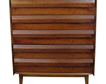 Mid-Century Danish Modern Lane First Edition Walnut Tall Chest/Dresser