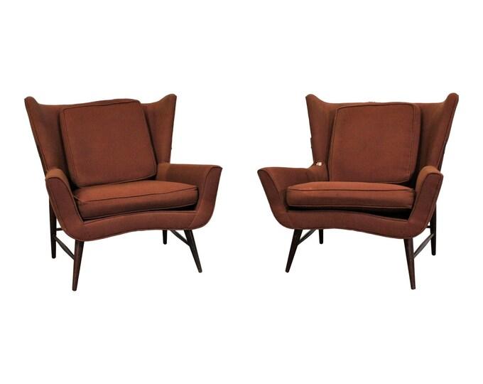 Pair of Mid Century Danish Modern Wingback  Lounge Chairs