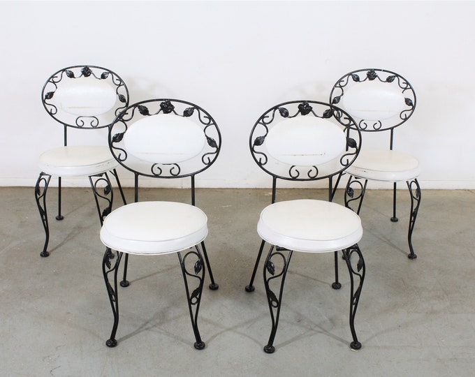 Set of 4 Vintage Wrought Iron Patio Dining Side Chairs