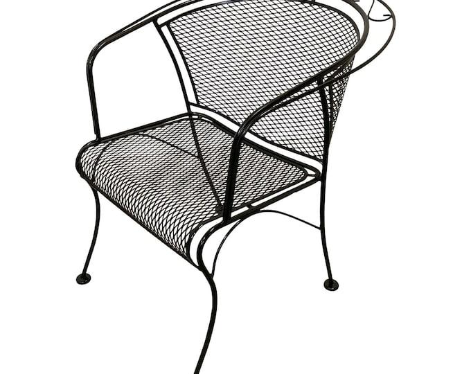Mid-Century Modern Woodard Briarwood Outdoor Wrought Iron Dining Arm Chair