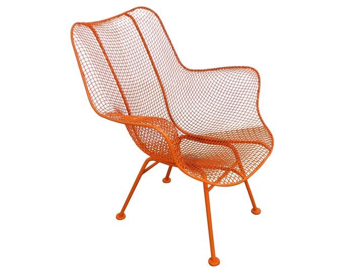 Mid-Century Modern Russell Woodard Sculptura Outdoor Wrought Iron Lounge Chair Vintage Patio Furniture