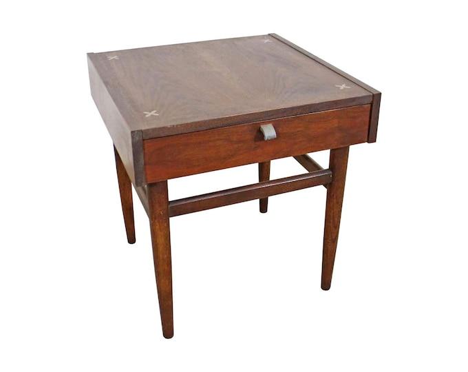 Mid-Century Modern Merton L. Gershun American of Martinsville Walnut End Table, Vintage Side Table