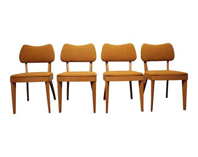 Mid-Century Dining Chairs Danish Modern Heywood Wakefield Champagne Side Chairs-Set of 4