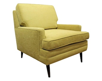 Mid Century Club Chair Danish Modern Thayer Coggin Style Chartreuse Pencil  Leg Lounge Chair