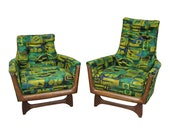 Mid-Century Modern Adrian Pearsall Style His Her Lounge Chairs by Prestige Bassett Arm Chairs