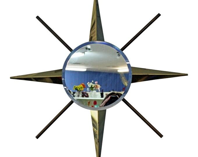 Mid-Century Wall Mirror Brass Starburst
