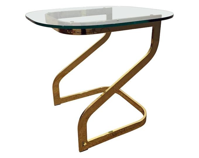 Mid-Century Danish Modern Milo Baughman Golden Chrome Glass Top End Table