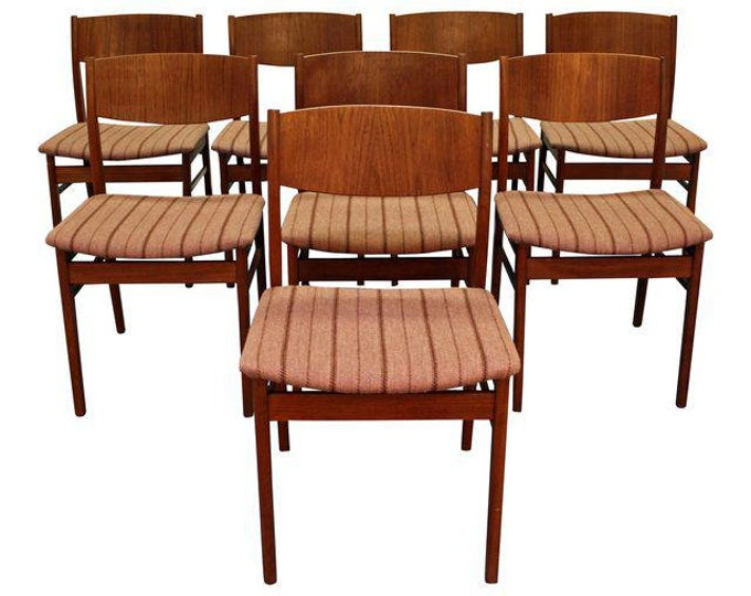 Mid-Century Dining Chairs Danish Modern Teak Side Dining Chairs-Set of 8