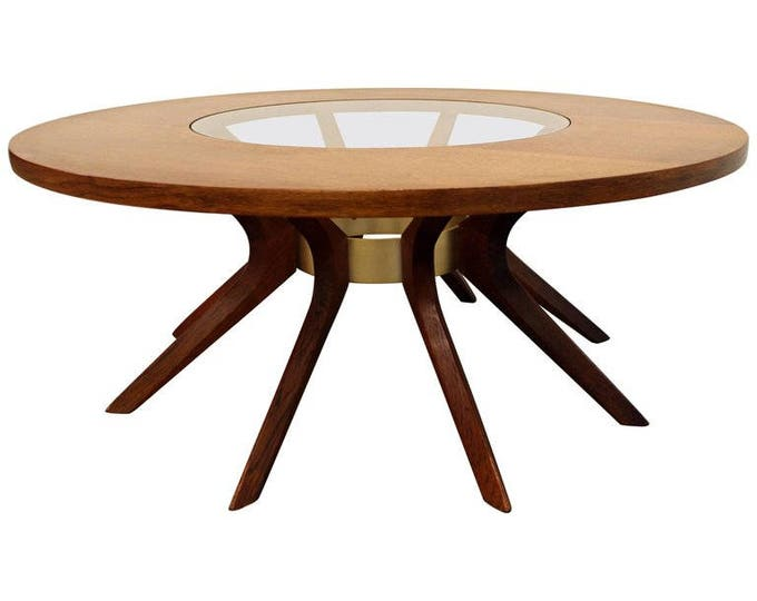 Mid-Century Modern Broyhill Brasilia Danish Modern Round Walnut Glass Sputnik Coffee Table