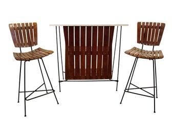 Mid-Century Danish Modern Arthur Umanoff 3-Piece Slat Bar & Pair of Stools