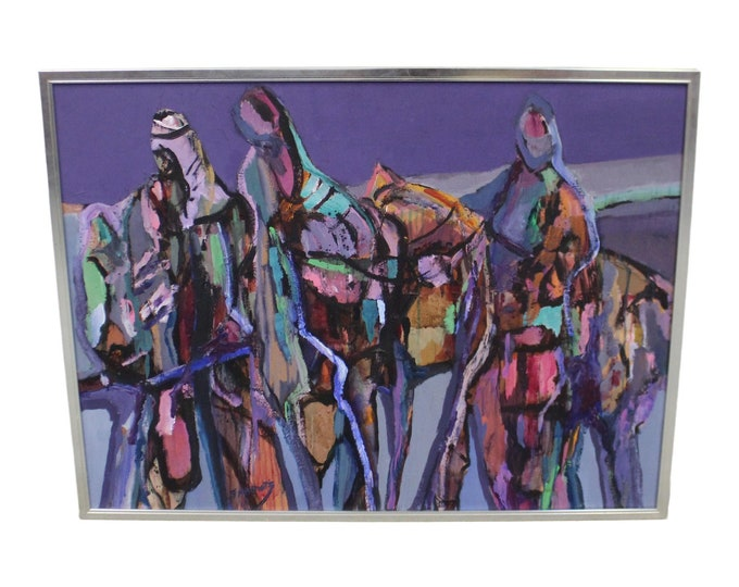 Large Modern Abstract Ruth Sabowitz 'Caravan' Acrylic Canvas Painting Vintage