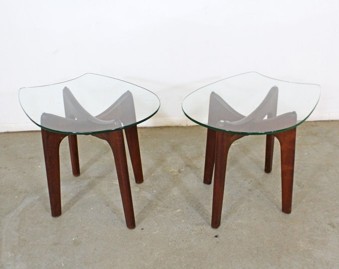 Pair of Mid-Century Danish Modern Adrian Pearsall Stingray Glass Top End Tables