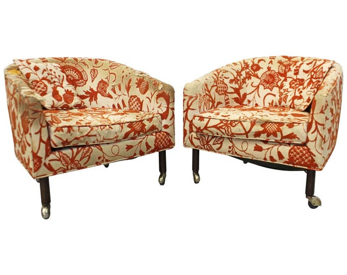 Pair of Mid-Century Danish Modern Harvey Probber Barrel Back Lounge Chairs