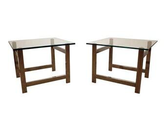 Pair of Mid-Century Danish Modern Milo Baughman Chrome & Glass End Tables