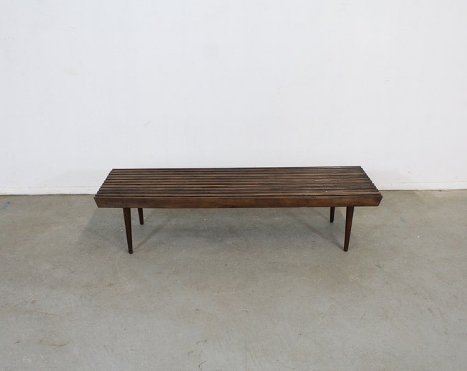 Mid-Century Modern Walnut Slat Bench End/Side Table