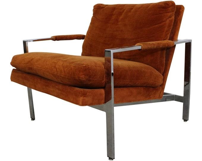 Milo Baughman Lounge Chair by  Thayer Coggin Chrome Cube