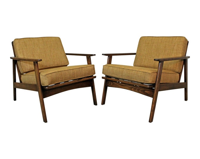 Mid-Century Lounge Chairs, Danish Modern, Honey Wheat, Walnut, Arm Chairs, Accent Chairs, Lounge Chairs-PAIR