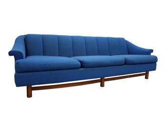 Mid-Century Danish Modern 3-Cushion Blue Sofa