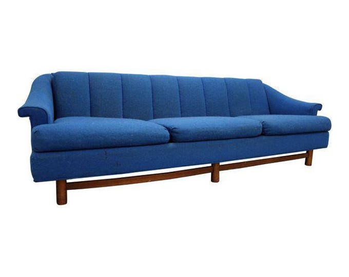 Mid-Century Sofa Danish Modern 3-Cushion Blue