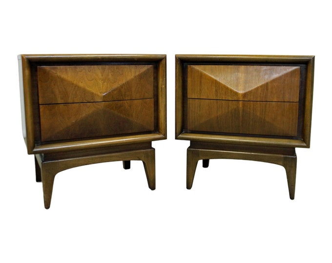 Mid-Century Modern United Diamond Front Walnut Nightstands PAIR