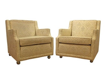 Pair of Mid-Century Modern Roller Club Chairs