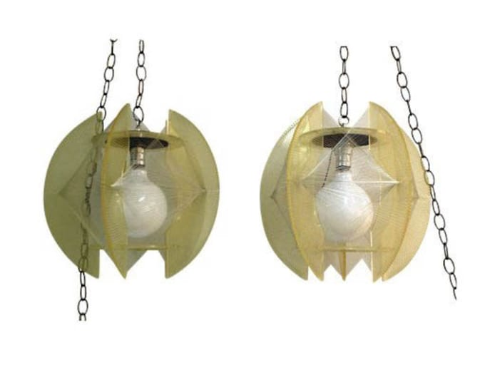 Pair of Mid-Century Danish Modern Lucite/String Hanging Chain Pendant Lamps