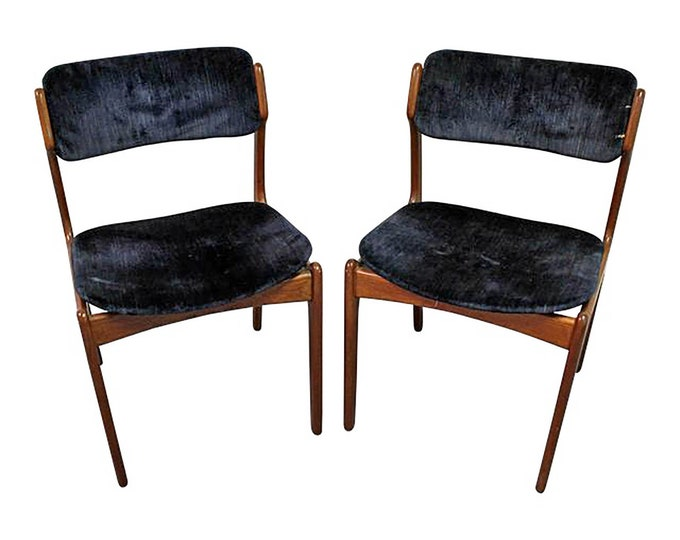 Vintage Erik Buch Dining Chairs Mid-Century Modern Danish Modern for O.D. Mobler Teak Side Chairs PAIR