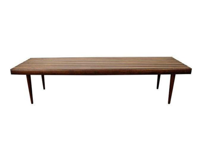 Mid-Century Danish Modern Walnut Slat Bench Coffee Table #10
