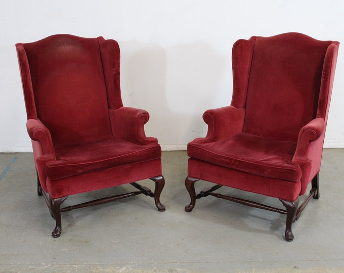Pair of Queen Anne Fireside Wingback Chairs by Hickory Chair Co