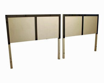 Mid-Century Beds Danish Modern Milo Baughman Style Twin Size Headboards-PAIR