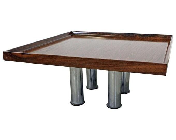 Mid-Century Danish Modern Knoll Rosewood Chrome Coffee/End Table