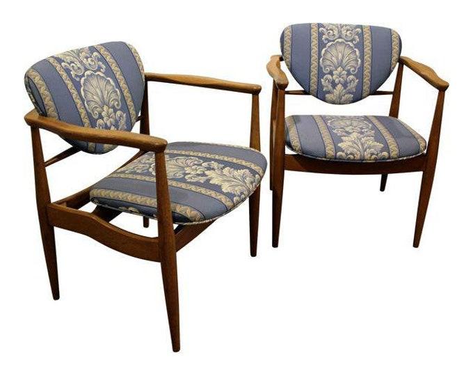 Pair of Mid-Century Danish Modern Finn Juhl John Stuart Walnut Arm Chairs