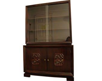 Mid-Century Modern Asian Ming-Style Mahogany Display/China Cabinet