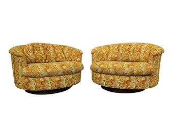 Pair of Mid-Century Danish Modern Groovy Round Selig Swivel Lounge Chairs