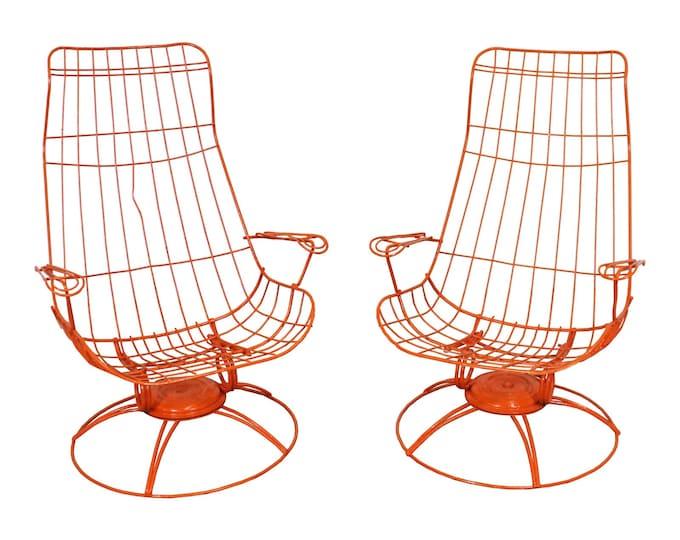 Pair of Mid-Century Modern Homecrest Siesta Swivel Rocker Patio Lounge Chairs