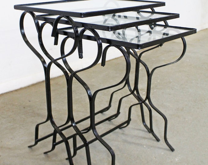 Set of 3  Wrought Iron Meadowcraft Dogwood Iron Outdoor Patio Nesting Tables
