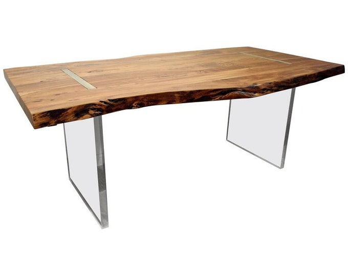 Modern Designer Dining Table/Desk Studio Floating Top Acacia Wood & Lucite Ghost Base
