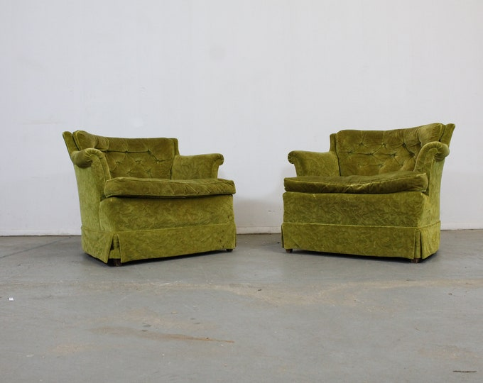 Pair of Mid-Century Modern Tufted Club Chairs