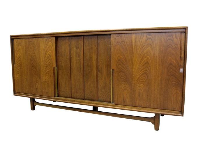 Mid-Century Modern Credenza Walnut Sliding Door Console Cabinet Dresser by Cavalier
